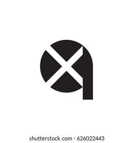 initial logo qx, xq, x inside q rounded letter negative space logo black