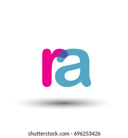initial logo RA lowercase letter, blue and pink overlap transparent logo, modern and simple logo design.