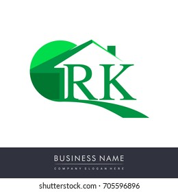 initial logo RK with house icon, business logo and property developer.