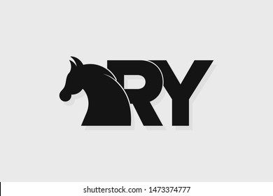 Initial logo RY letter with stallion head. The combination of letters R and Y is black