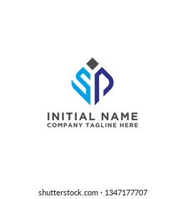 The initial logo of the SP letter design. - Vector