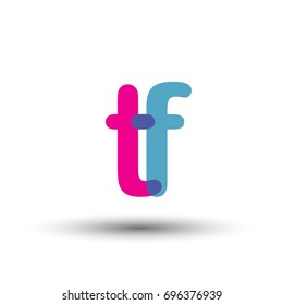 initial logo TF lowercase letter, blue and pink overlap transparent logo, modern and simple logo design.