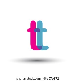 initial logo TT lowercase letter, blue and pink overlap transparent logo, modern and simple logo design.