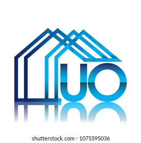 initial logo UO with house icon, business logo and property developer.