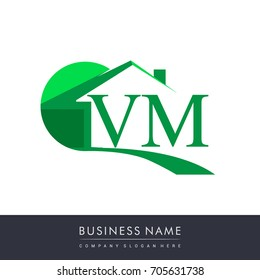 initial logo VM with house icon, business logo and property developer.