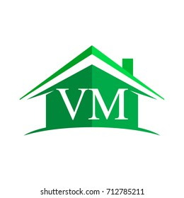 initial logo VM with house icon and green color, business logo and property developer.
