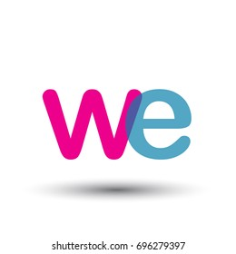 initial logo WE lowercase letter, blue and pink overlap transparent logo, modern and simple logo design.