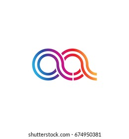 Initial lowercase letter aa, linked outline rounded logo, colorful vibrant colors