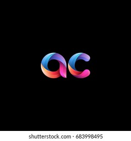Initial lowercase letter ac, curve rounded logo, gradient vibrant colorful glossy colors on black background
