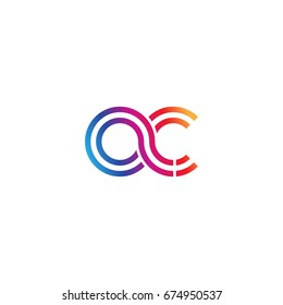 Initial lowercase letter ac, linked outline rounded logo, colorful vibrant colors