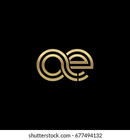 Initial lowercase letter ae, linked outline rounded logo, elegant golden color on black background