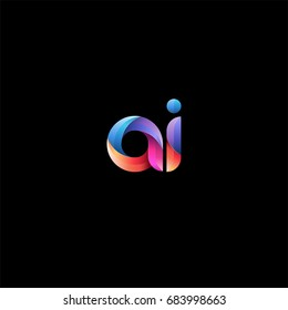 Initial lowercase letter ai, curve rounded logo, gradient vibrant colorful glossy colors on black background