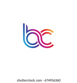 Initial lowercase letter bc, linked outline rounded logo, colorful vibrant colors