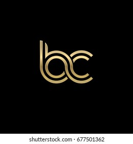 Initial lowercase letter bc, linked outline rounded logo, elegant golden color on black background