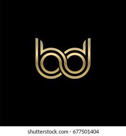 Initial lowercase letter bd, linked outline rounded logo, elegant golden color on black background