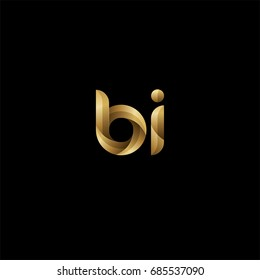 Initial lowercase letter bi, curve rounded logo, gradient glossy gold color on black background