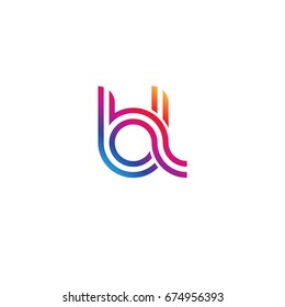 Initial lowercase letter bl, linked outline rounded logo, colorful vibrant colors