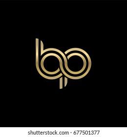 Initial lowercase letter bp, linked outline rounded logo, elegant golden color on black background
