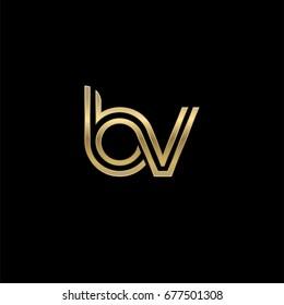Initial lowercase letter bv, linked outline rounded logo, elegant golden color on black background