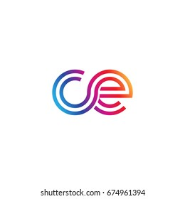 Initial lowercase letter ce, linked outline rounded logo, colorful vibrant colors