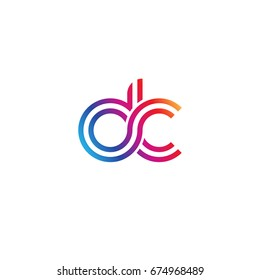 Initial lowercase letter dc, linked outline rounded logo, colorful vibrant colors