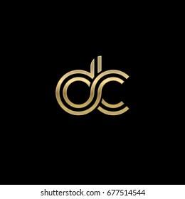 Initial lowercase letter dc, linked outline rounded logo, elegant golden color on black background