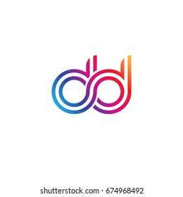 Initial lowercase letter dd, linked outline rounded logo, colorful vibrant colors