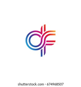 Initial lowercase letter df, linked outline rounded logo, colorful vibrant colors