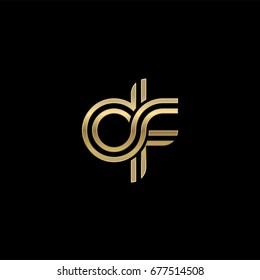 Initial lowercase letter df, linked outline rounded logo, elegant golden color on black background