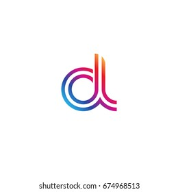 Initial lowercase letter dl, linked outline rounded logo, colorful vibrant colors