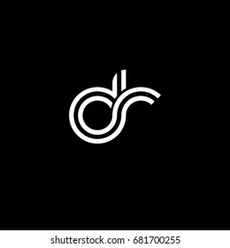 Initial lowercase letter dr, linked outline rounded logo, white color on black background