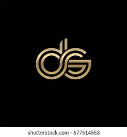 Initial lowercase letter ds, linked outline rounded logo, elegant golden color on black background