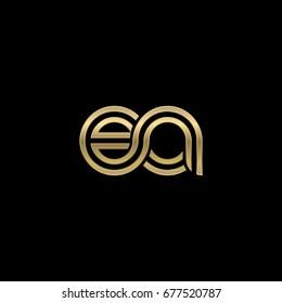 Initial lowercase letter ea, linked outline rounded logo, elegant golden color on black background