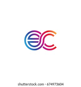 Initial lowercase letter ec, linked outline rounded logo, colorful vibrant colors