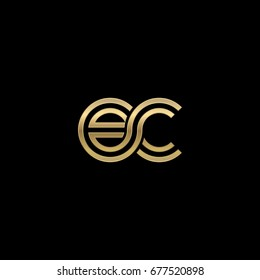 Initial lowercase letter ec, linked outline rounded logo, elegant golden color on black background
