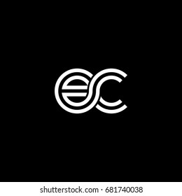 Initial lowercase letter ec, linked outline rounded logo, white color on black background