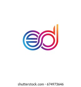 Initial lowercase letter ed, linked outline rounded logo, colorful vibrant colors