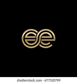 Initial lowercase letter ee, linked outline rounded logo, elegant golden color on black background