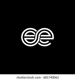 Initial lowercase letter ee, linked outline rounded logo, white color on black background