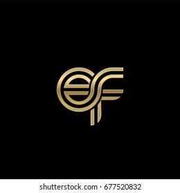 Initial lowercase letter ef, linked outline rounded logo, elegant golden color on black background
