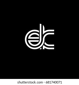 Initial lowercase letter ek, linked outline rounded logo, white color on black background