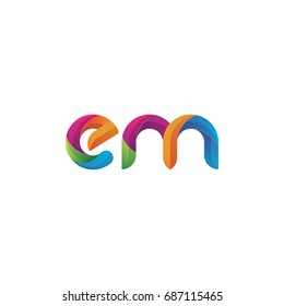 Initial lowercase letter em, curve rounded logo, gradient vibrant colorful glossy multicolor