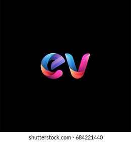 Initial lowercase letter ev, curve rounded logo, gradient vibrant colorful glossy colors on black background