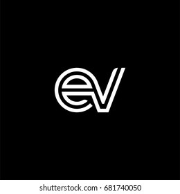 Initial lowercase letter ev, linked outline rounded logo, white color on black background