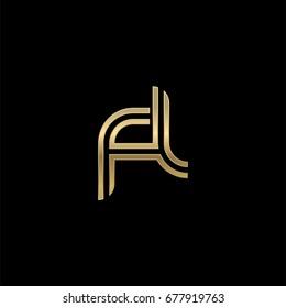 Initial lowercase letter fl, linked outline rounded logo, elegant golden color on black background