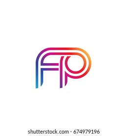 Initial lowercase letter fp, linked outline rounded logo, colorful vibrant colors