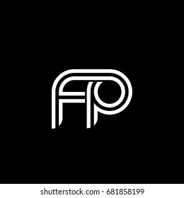 Initial lowercase letter fp, linked outline rounded logo, white color on black background