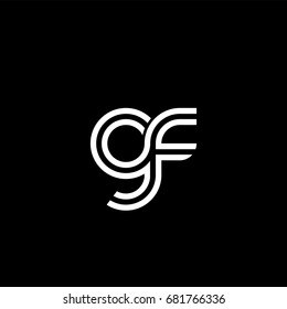 Initial lowercase letter gf, linked outline rounded logo, white color on black background