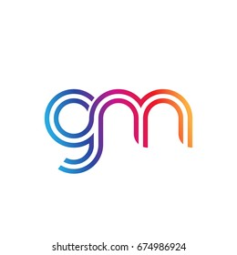 Initial lowercase letter gm, linked outline rounded logo, colorful vibrant colors