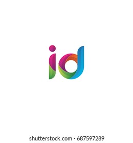 Initial lowercase letter id, curve rounded logo, gradient vibrant colorful glossy multicolor